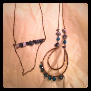 Stone accented necklace duo